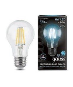 Лампа светодиодная филаментная Gauss E27 6W 4100К прозрачная 1/10/50 102802206