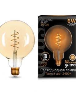 Лампа светодиодная филаментная Gauss E27 6W 2400K золотая 158802008