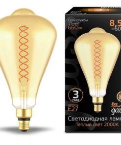 Лампа светодиодная филаментная Gauss E27 8,5W 2000K янтарная 157802105