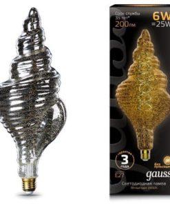 Лампа светодиодная филаментная Gauss E27 6W 2400K серая 166802008