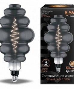 Лампа светодиодная филаментная Gauss E27 8,5W 1800K серая 161802005