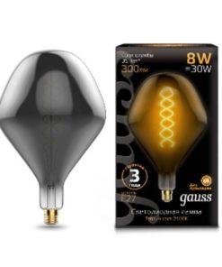 Лампа светодиодная филаментная Gauss E27 8W 2400K серая 163802008